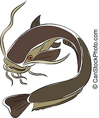 Painting of a grey-colored catfish vector or color illustration