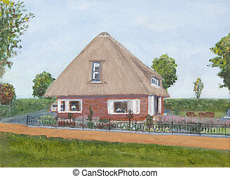 Painting of a house with a red road