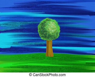 lone tree - painting of a lone tree