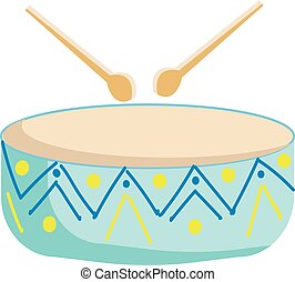 Painting of a musical instrument called drum struck with two sticks or with the player's hands vector color drawing or illustration