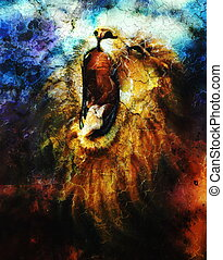 painting of a roaring lion on a abstract desert pattern, pc collage