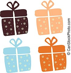 Painting of a set of four present boxes wrapped in four different decorative papers tied with ribbons and topped with decorative bows works especially well for gifts vector color drawing or illustration