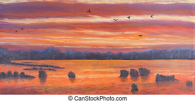 Painting of a sunset over marshland