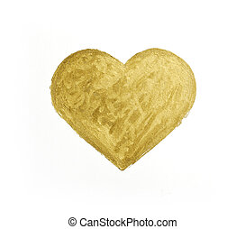 Painting of big golden heart over white background.
