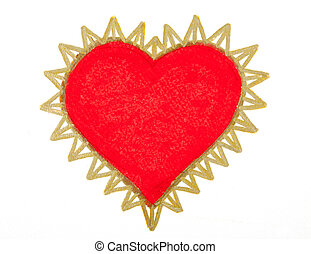 Painting of big red heart over white background.