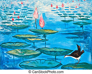 painting of bird and lotus - painting of lotus and a bird in...