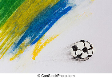 Painting of Brazil flag and soccer ball