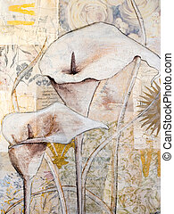 Painted calla lily on collage background, artwork is created and painted by myself