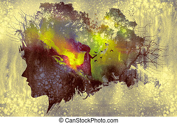 painting of double exposure concept with lady portrait...