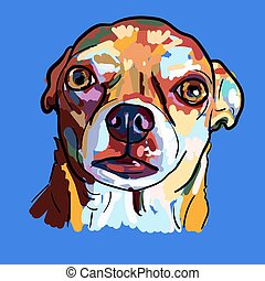 Painting of funny face of chihuahua dog on blue background.