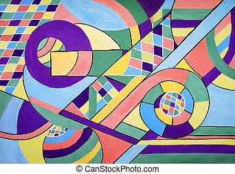 Painting of geometry abstract - Original drawing of multi...