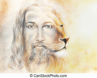 painting of Jesus with a lion, on beautiful colorful ...