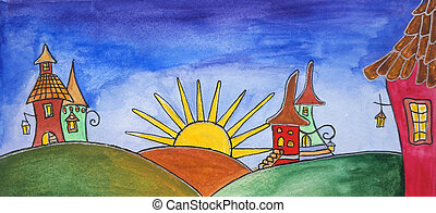 Painting of land with castles. Happy children magic world with sun, cute fairy tale homes.