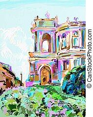 painting of opera theater, Odessa, Ukraine - original...