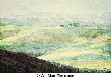 Painting of Tuscany landscape at sunrise. Tuscan green hills.