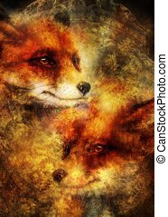 Painting of wild red fox. Ornamental background