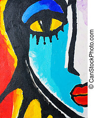 painting of woman face on canvas board. painted by me.