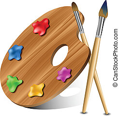 Painting palette - Wooden painting palette with two brushes ...