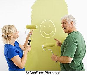 painting., pareja, smiley, reír, cara