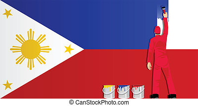Painting Philippines Flag - Illustration of a man figure...