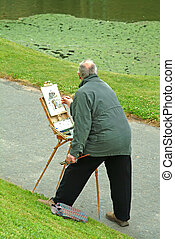 painting picture outdoors