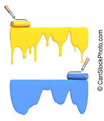 Painting - Platen painting with an blue and yellow paints. ...