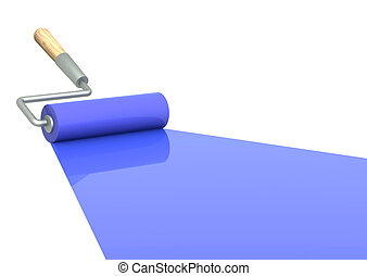 Platen painting with an blue paint. Isolated over white