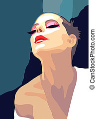Painting, portrait of a woman, vector illustration