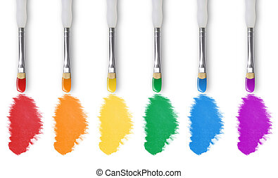 Painting Rainbow Colors With Paintbrush