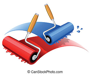 Painting red and blue - Vector illustration of red and blue...