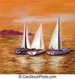 Painting, sailing boats at sea - Picture, landscape. Yachts...