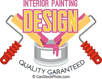 Painting service icon design with paint and roller