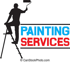 painting services design - illustration of a man painting the wall (painter painting with ladder, silhouette of a painter, painting services symbol)