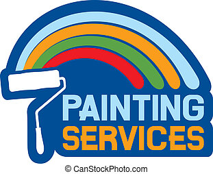 painting services label, painting services symbol
