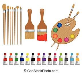 Painting set vector illustration isolated on white background