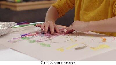 painting., sprytny, berbeć, dziewczyna, mały