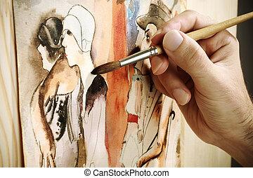 painting - art concept, selective focus, watercolor image...