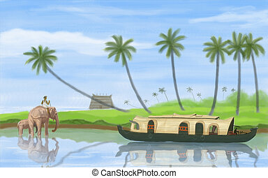 Backwater of Kerala - painting style illustration of ...