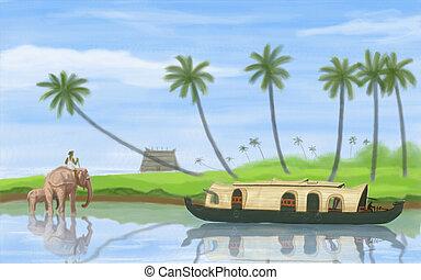 Backwater of Kerala - painting style illustration of ...