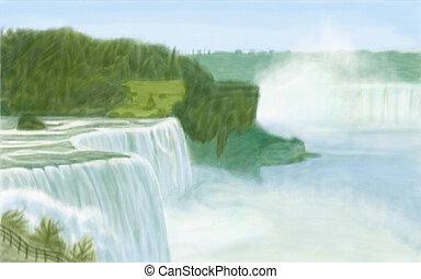 Niagara Falls - painting style illustration of Niagara Falls