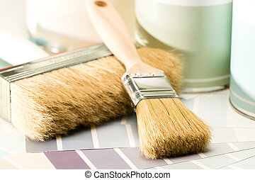 Painting supplies brush, can and swatch - Brushes, paint ...