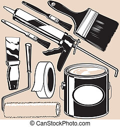 Collection of painting supplies and gear