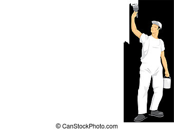 Painting The Wall - Stock vector of man painting the wall