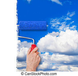 Painting the wall with sky