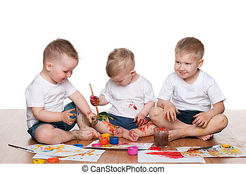 Painting three boys