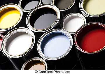 Painting times - Cans and paint and brushes on the Colorful...