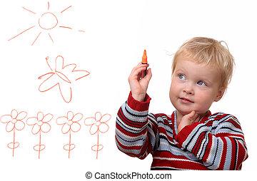 Painting toddler
