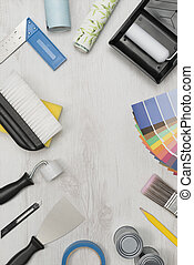 Painting Tools and Supplies on White Wooden Background Copy Space