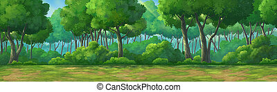 Painting view forset at daytime - Picture painted in deep...