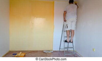Painting Walls - Timelapse - Time lapse of a man painting ...